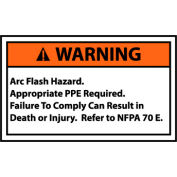 Graphic Machine Labels - Warning Arc Flash Hazard Appropriate Ppe