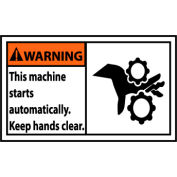 Graphic Machine Labels - Warning This Machine Starts Automatically, 5 Pack