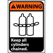 Warning Sign 10x7 Vinyl - Keep All Cylinders Chained