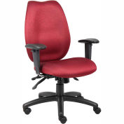 High Back Task Chair with Seat Slider - Burgundy