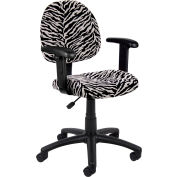 Zebra Print Microfiber Deluxe Posture Chair with Adjustable Arms