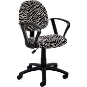 Zebra Print Microfiber Deluxe Posture Chair with Loop Arms