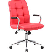 Boss Modern Office Chair with Arms - Vinyl - Mid Back - Red
