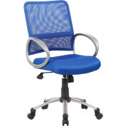 Boss Mesh Back Office Chair with Arms - Fabric - Mid Back - Blue