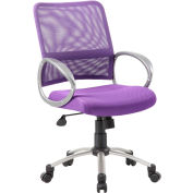Boss Mesh Back Office Chair with Arms - Fabric - Mid Back - Purple