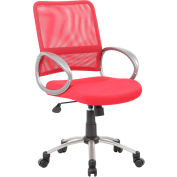 Boss Mesh Back Office Chair with Arms - Fabric - Mid Back - Red