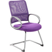 Boss Mesh Back W/ Pewter Finish Guest Chair - Purple