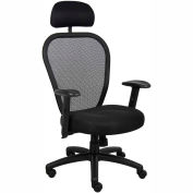 Professional Managers Mesh Chair with Headrest Black
