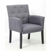Boss Contemporary Button Tufted Linen Guest Chair, Gray