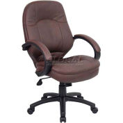 Boss Executive Office Chair with Arms - Leather - Mid Back - Brown