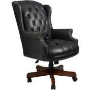 Wingback Traditional Executive Chair - Black