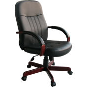 LeatherPlus Executive Chair with Mahogany Finish