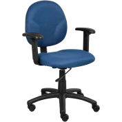 Boss Office Task Chair with Arms - Fabric - Mid Back - Blue