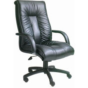 Italian Leather High Back Executive Chair with Knee Tilt - Black