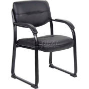 Boss Leather Sled Base Side Chair W/Arms - Black