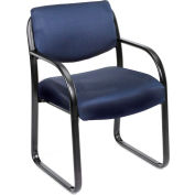 Boss Reception Guest Chair with Arms - Fabric - Blue