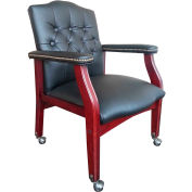 Boss Traditional Black Caressoft™ Guest Chair - Mahogany Finish