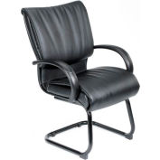Mid Back Leather Guest Chair - Black