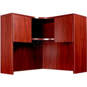 Boss Corner Open Hutch, Mahogany