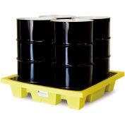ENPAC® 5400-YE 4-Drum Poly-Spillpallet™-Slim-Line 66 Gallon Capacity