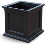 "Oxford 28"" Square Commercial Planter, Black"