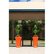"Bordeaux 40"" Tall Commercial Planter, Coral Orange"