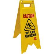 O-Cedar Commercial Floor Safety Sign Bilingual 2 Sided 6/Case - 96991 - Pkg Qty 6