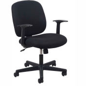 Essentials by OFM ESS-3070 Upholstered Swivel Task Chair with Arms, Black