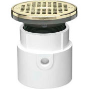"Oatey 72037 3"" or 4"" PVC Adjustable General Purpose Drain with 5"" Brass Grate & Round Ring"