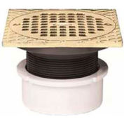 "Oatey 72047 3"" or 4"" PVC Adjustable General Purpose Drain with 5"" Brass Grate & Square Ring"