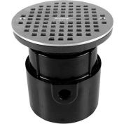 "Oatey 72119 4"" PVC Hub Base Adjustable General Purpose Drain with 6"" Stainless Steel Grate"