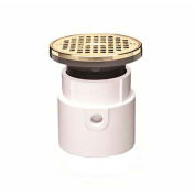 "Oatey 72139 4"" PVC Hub Base Adjustable General Purpose Drain with 6"" Brass Grate & Round Ring"