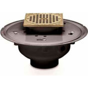 "Oatey 72142 2"" PVC Adjustable Commercial Drain with 6"" Brass Grate & Square Ring"