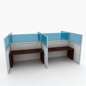 "OBEX P.E 12"" Polycarbonate Cubicle Mounted Privacy Panel w/ Large Bracket Blue, 12X66P-A-B-LP"