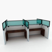 """OBEX P.E 12"""" Polycarbonate Cubicle Mounted Privacy Panel w/ Small Bracket Green, 12X66P-B-G-SP"""