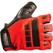 Classic Embossed Back Gel Deluxe Anti-Vibration Gloves, Red, Medium