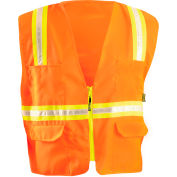 OccuNomix Classic Solid Two-Tone Surveyor Vest, Class 2, ANSI, Hi-Vis Orange, S, LUX-ATRANS-OS