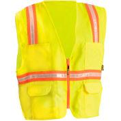 OccuNomix Classic Solid Two-Tone Surveyor Vest, Class 2, ANSI, Hi-Vis Yellow, 3XL, LUX-ATRANS-Y3X