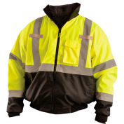 OccuNomix Class 3 Three-Way Bottom Bomber Jacket with Removable Liner, Yellow/Black, XL