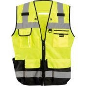Occunomix LUX-HDSBK-Y3X Heavy Duty Surveyor Vest, Class 2, Zipper, Solid, Black Bottom, 3XL