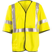 OccuNomix Class 3 Flame Resistant Single Stripe Solid Vest, Yellow, L