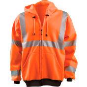 OccuNomix Full Zip Hoodie Sweatshirt Hi-Vis Orange Large, LUX-HZSWT-OL