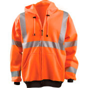 Full Zip Hoodie Sweatshirt Hi-Vis Orange XL