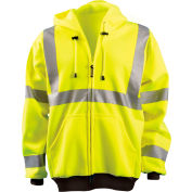 Full Zip Hoodie Sweatshirt Hi-Vis Yellow Medium