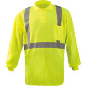 Occunomix LUX-LSPP2B-Y2X Birdseye Polo, Wicking & Cooling Long Sleeve, Class 2, Yellow, 2XL