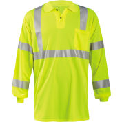 Occunomix LUX-LSPP3B-Y5X Birdseye Polo, Wicking & Cooling Long Sleeve, Class 3, Yellow, 5XL