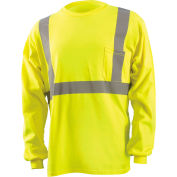 OccuNomix Classic Flame Resistant Long Sleeve T-Shirt, Class 2, Hi-Vis Yellow, 2XL, LUX-LST2/FR-Y2X