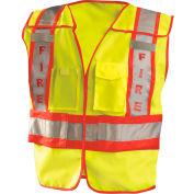 OccuNomix Premium Solid Public Safety Fire Vest Hi-Vis Yellow, M/L, LUX-PSF-YM/L
