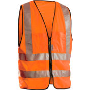 Premium Solid Dual Stripe Surveyor Vest, Hi-Vis Orange, M