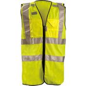 OccuNomix Premium Solid Stripe Surveyor Vest W/ Zipper, Class 2, Hi-Vis Yellow, M, LUX-SSFULLZ-YM